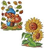 Unbekannt 2 Stück: XL Fensterbilder Herbst - Teddy / Sonnenblume / Maus mit Drachen - Sticker Fenstersticker Aufkleber selbstklebend & statisch haftend wiederverwendbar