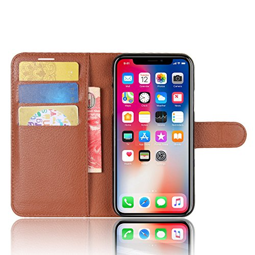 AVIDET iPhone X Hülle - Hochwertiges PU Ledertasche im Bookstyle with Kickstand Card Holder für iPhone X (Weiß) Braun