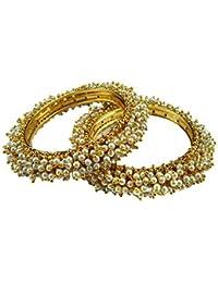 Oroca Arts Golden Copper Kada Bangle Set For Women - Set Of 2