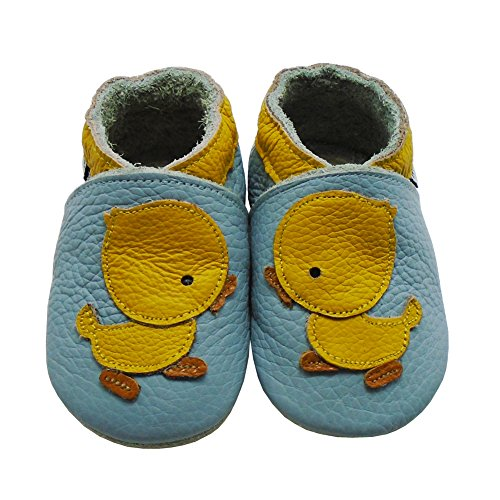 Mejale Weiche Sohle Leder Babyschuhe Lauflernschuhe Krabbelschuhe Kleinkind Kinderschuhe Hausschuhe Karikatur Ente Himmelblau