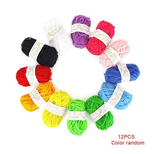 Bodbii 12st Kinder DIY Stricke Häkeln Garne Mehrfarbenhandwerk Bunt Craft Nähgarn Crafting Garn zufällige Farbe -