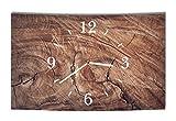 LAUTLOSE Designer Wanduhr Holz Optik braun Baumstamm modern Dekoschild Abstrakt Bild 39 x 25cm