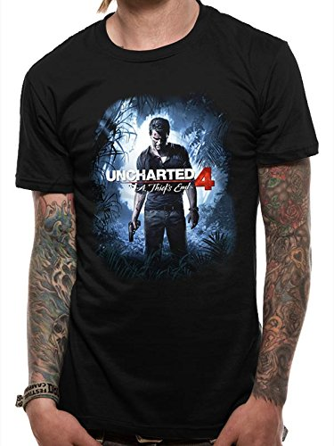 CHARACTER Uncharted 4-Thief Cover, T-Shirt Uomo, Black, X-Large