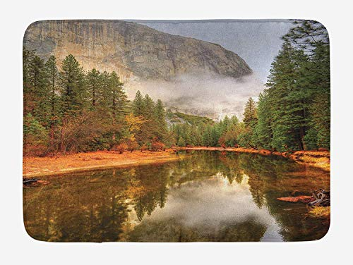 OQUYCZ Yosemite Bath Mat, Trees Reflections on Merced River Yosemite Valley National Park California in The Fall, Plush Bathroom Decor Mat with Non Slip Backing, 23.6 W X 15.7 W Inches, Green Galaxy Nylon Parka