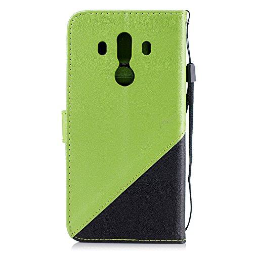 Coque Huawei Mate 10 Pro,Etui Huawei Mate 10 Pro,Surakey Huawei Mate 10 Pro Cuir PU Housse à Rabat Portefeuille Étui Flip Case Folio à Clapet Stand de Fermeture magnétique, Noir+Vert