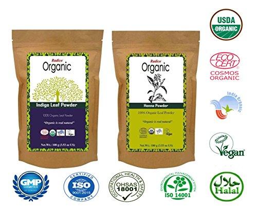 Radico Organic Indigo Leaf Powder & Organic Henna Combo  available at amazon for Rs.349