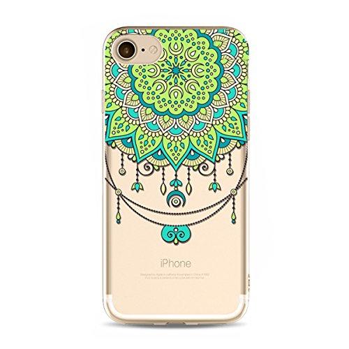 iPhone 6S Hülle,iPhone 6 Hülle,SainCat iPhone 6/6S Silikon Hülle Tasche Handyhülle Datura Blume Retro Muster Schutzhülle [Kratzfeste, Scratch-Resistant] Transparent TPU Gel Case Bumper Weiche Crystal  Datura Blume-#13