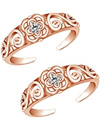 Jewels Exotic Fashion Toe Rings In 0.02 CT White CZ 925 Sterling Silver 14K Rose Gold Finish
