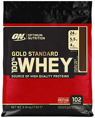 Optimum Nutrition Gold Standard Whey Protein Powder With Glutamine and Amino Acids. Protein Shake By On - Double Rich Chocolate, 3.16kg