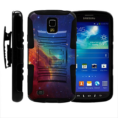 turtlearmor | Kompatibel für Samsung Galaxy S4 Active Schutzhülle | I9295 | i537 [Hyper Schock] Hybrid Dual Layer Rüstung Holster Gürtel Clip Case Ständer -, Colorful Nebula Galaxy (Handy T-mobile S4 Galaxy)