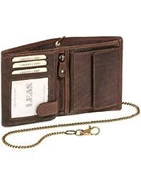 Biker Portefeuille pour homme et femme avec la chaîne Vintage-Style LEAS MCL, cuir véritable, marron - ''LEAS Chain-Series''