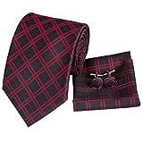 Hi-Tie - Cravate pour Homme Rouge/Noir Taille unique