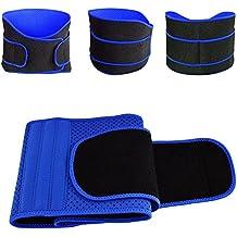 Zooron - Cinto adelgazante para cintura transpirable, cinturón abdominal de doble ajuste elástico; faja de compresión de parte inferior de la espalda, correa de respaldo lumbar para hombres y mujeres., color azul, tamaño Large