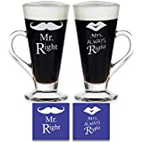 Yaya Cafe Tyyc ,Mr Right Mrs Always Right Couple Glass Tea Mugs Set Of 2 With Coasters