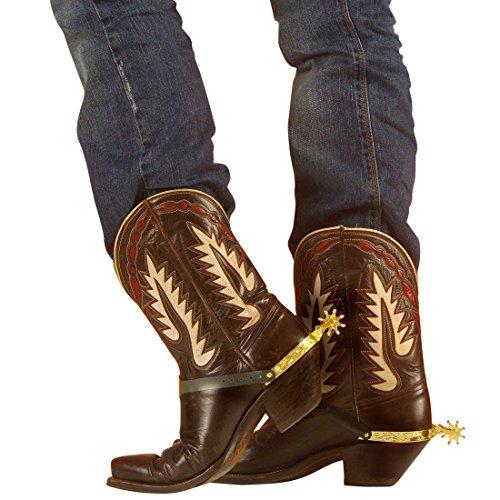 Preisvergleich Produktbild Cowboy Sporen Westernsporen gold Stiefelsporen Cowboysporen Western Spurs Wilder Westen Kostüm Accessoire