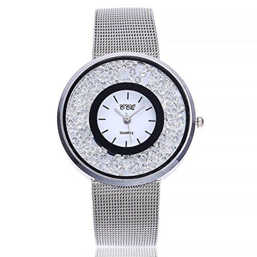 Uhren Dellin V212 Damen Beiläufige Bælte Quarz Edelstahl Band Marmorband Uhr analoge Armbanduhr (Silber)