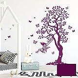 Wandtattoo Baum Elfe Fee auf Schaukel & Schmetterlinge Kinderzimmer Wanddeko Wandgestaltung M2335 - ausgewählte Farbe: *lila* ausgewählte Größe: *M - 120cm hoch x 70cm breit + Schmetterlinge*