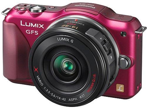 Panasonic Lumix DMC-GF5XEG-R Systemkamera (12 Megapixel, 7,5 cm (3 Zoll) Touchscreen, Full HD Video, bildstabilisiert) inkl. Lumix G Vario 14-42 mm Objektiv rot