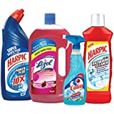 Harpic Powerplus Original - 1 L with Lizol Disinfectant Floor Cleaner - 975 ml (Floral), Colin Regular Trigger - 500 ml and Harpic Bathroom Cleaner - 1 L (Lemon)