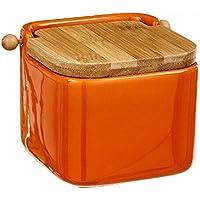 dcasa - Salero naranja cerámica con tapa de bambú. 12x12x11cm