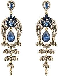 Clearine Women's Vintaged Inspired Crystal Floral Leaf Chandelier Pierced Dangle Earrings