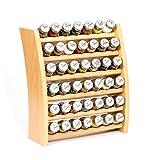 Gewürzregal, Küchenregal aus Holz für Gewürze und Kräuter, 42 Gläser, Gald - 42F 7x6 naturell mat
