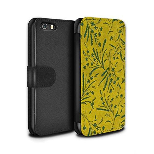 STUFF4 PU-Leder Hülle/Case/Tasche/Cover für Apple iPhone 5/5S / Grau Muster / Weizen Blümchenmuster Kollektion Gelb/Grün