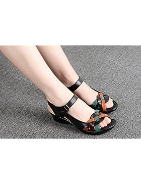 SDKIR-Gli anziani nella madre di sandali, donne con un fondo piatto anziani scarpe, sandali di cuoio, psoriasi...