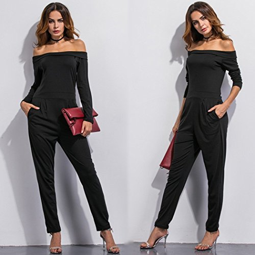 ecowish langarm hosenanzug jumpsuit damen elegant lang. Black Bedroom Furniture Sets. Home Design Ideas