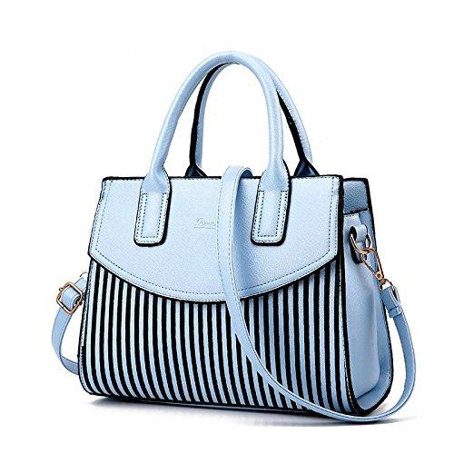 HQYSS Borse donna Moda femminile PU in pelle borse a spalla Top-manico borsa Tote Bag semplice borsa a tracolla , white days blue