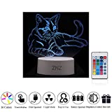 Veilleuse 3D LED - ZNZ 16 Couleurs Lampe de table Dimmable à commande USB avec interrupteur tactile Télécommande pour enfant,Lumière 3D Lampe de bureau Illusions optique pour décor de chamber-Chat