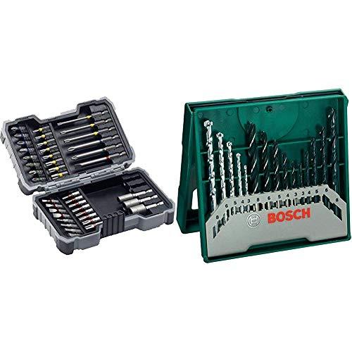 Bosch 2607017164 X-Pro Set Inserti Avvitamento, 43 Pezzi + Bosch 2607019675 X-Line Set Mini, 15 Punte, Metallo Legno Muro