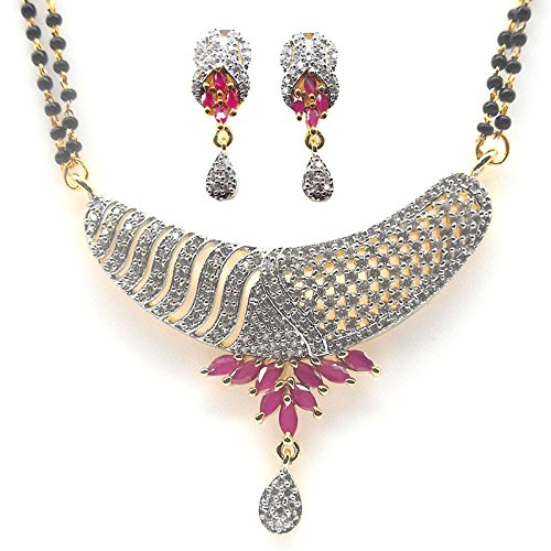 Bling N Beads 18K Gold Plated American Diamond Mangalsutra For Women