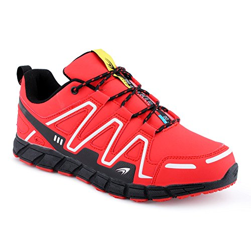 FiveSix Herren Damen Sneaker Sportschuhe Lauf Freizeit Mehrfarbig Runners Fitness Low Unisex Schuhe Rot/Schwarz-M