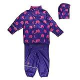 Celavi Rainwear Suit W.Elephant Print - Manteau Imperméable - Fille - Violet (Purple) - 140 cm