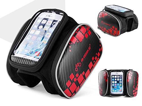Touch Bildschirm Mountain Bike Fahrrad Lenkertasche vorne Tube Bag wasserdichte Satteltasche Handy Tasche mit Handy Fall schwarz/rot