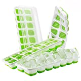 TOPELEK 4 packs Ice Cube Tray, LFGB Certified BPA Free Silicone Ice Cube Tray Moulds with Non-Spill Lid, Best for Baby Food, Water, Cocktail and Other Drink