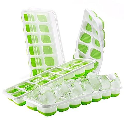 【Upgrade Version】Eiswürfelform, TopElek Ice Tray Ice Cube 14-fach Eiswürfel, 4er Pack, kühl aufbewahren, LFGB Zertifiziert, Einfach zu bedienen.