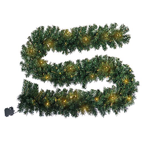Aufun PVC 300cm Weihnachtskranz mit 60 LEDs Warmweiß für tür deko außen - Weihnachtsdeko Türkranz Weihnachten Garland mit Roten Beeren und Tannenzapfen (Grün PVC,300cm mit LED)