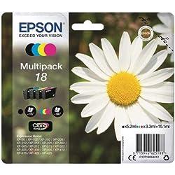 EPSON C13T18064012 - Encre d'origine Multipack Pâquerette T1806 : cartouches Noir, Cyan, Magenta et Jaune Amazon Dash Replenishment est prêt