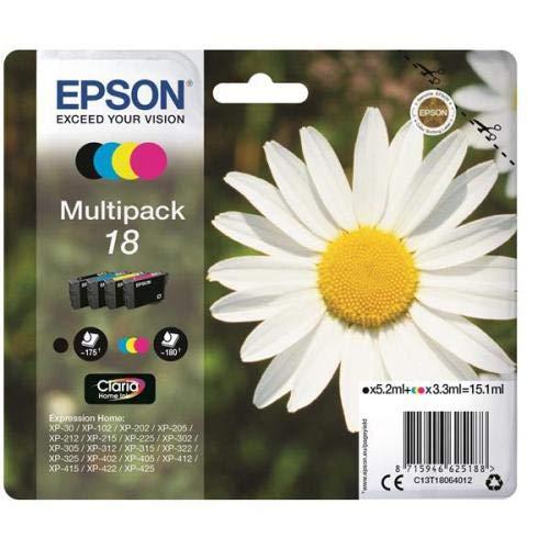 epson xp 412 druckerpatronen Epson Original T1806 Tintenpatrone Gänseblümchen, Claria Home Tinte, Text- und Fotodruck (Multipack, 4-farbig) (CYMK)