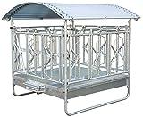 Eider Viereckraufe Standard mit Selbstfangfressgitter & Dach - 12 Fressplätze - höhenverstellbare Kufen - feuerverzinkt - Dach mit Kantenschutz - für Ballen bis 1,8 Meter Durchmesser