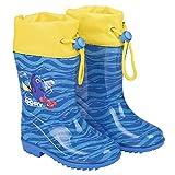 PERLETTI Stivaletti Pioggia alla Ricerca di Dory - Stivali Impermeabili Bambini Dory Nemo Disney - Scarpe in PVC Suola Sicura Antiscivolo Chiusura a Coulisse - Blu Gialli con Onde Azzurre (24/25)