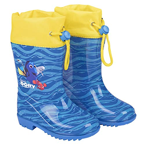 PERLETTI Disney Pixar Finding Dory Rain Boots for Kids - Waterproof Wellies Shoes with Anti Slip Outsole - Colored Wellington for Boy and Girl with Nemo Dory - Blue with Yellow Details - 5 Size