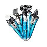 Aolvo elettrico Razor + nose Hair Clipper + rasoio + spazzola di pulizia 4in 1rasoio elettrico–Rotary rasoio per barba, Dry Wet impermeabile–USB di ricarica veloce batteria Royal Blue