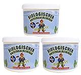 3 x Bio-Universalreiniger á 500g + Schwamm -Putzstein/Reinigungsstein, hochkonzentriert, für Keramik, Glas Küchenmöbel, Herdplatten, Spülen, Ceranfelder, Badewannen, Duschen, Kunstoffenster, Motorräderalle , entfernt natürlich Bakterien/Pilze und beugt neuem Wachstum vor, hautverträglich, wohltuend und angenehm. auch als Entkalker für Bad und Küche, organische Inhaltsstoffe