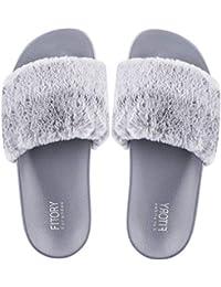 b9263c74f941db FITORY Damen Hausschuhe Plüsch Süße Weiche Indoor Outdoor Pantoffeln mit  Pelz Rutschfeste