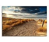 120x80cm Leinwandbild auf Keilrahmen Holland Nordsee Meer Strand Sonnenuntergang Wandbild auf Leinwand als Panorama