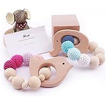 Baby-Zahnbürste-Baby-Armband Naturholz-Zahnen-Ring-Krankenpflege-Häkelarbeit-Korne Babyspielwaren-Geklapper-Zettel-Spielzeug