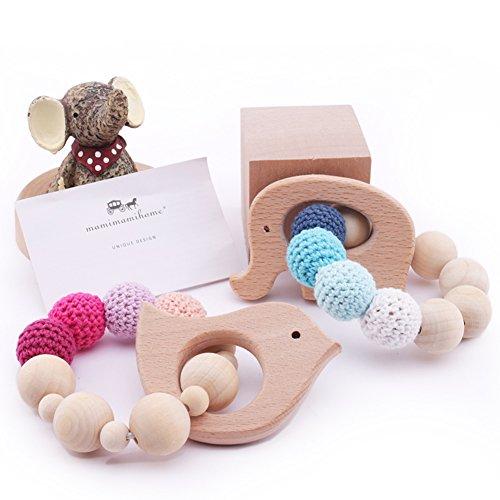 Los mordedores de madera de 2 piezas para bebés Orgánica de madera en forma de pájaro elefante de juguete de regalo Mordedor dentición dentición enfermería juguete masticable pulsera Montessori bebé ecológico